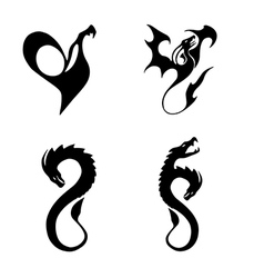 Black stylized of dragons vector