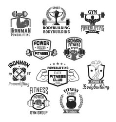 Bodybuilding gym or powerlifting club icons vector