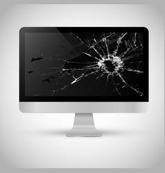 Broken screen of a computer vector