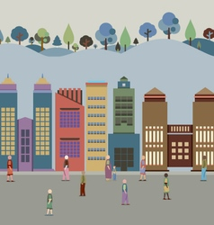Buildings In The City With Forest Behind vector