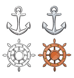 cartoon character anchor and sea wheel isolated on vector image