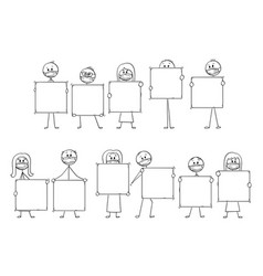Cartoon set or group people wearing face vector