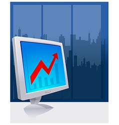 Chart On Computer Screen vector image