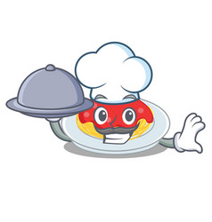 chef with food spaghetti character cartoon style vector image