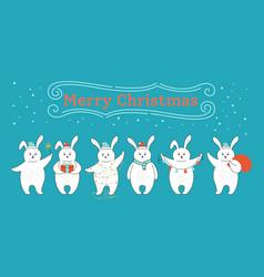 Christmas rabbit cartoon set cute hare red hat vector