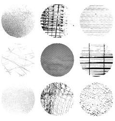 circular grunge texture set vector image