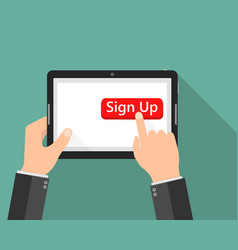 click to sign up button icon vector image