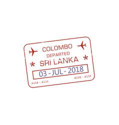 colombo visa stamp sri lanka border control vector image
