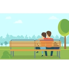 couple outdoors in park sitting on bench and vector image