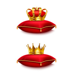 crowns on pillow realistic set vector image