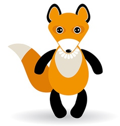 cute cartoon fox on white background vector image