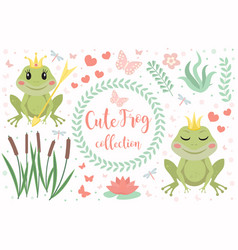 cute frog princess character set of objects vector image