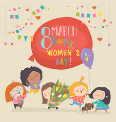 cute girls with flowers celebrating womens day vector image