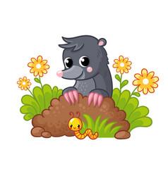 cute little mole peeks out burrow vector image