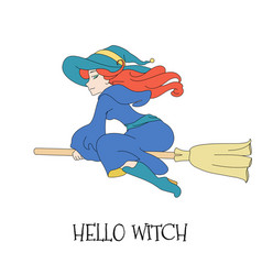cute young redheaded witch flying on a broom vector image