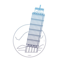 Degraded line leaning tower of pisa with nice vector