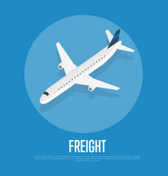 delivery freight isometric banner with plane vector image