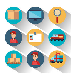 delivery service set icons vector image