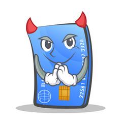 Devil credit card character cartoon vector