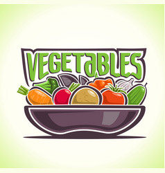 Dish vegetables still life vector