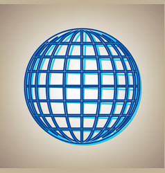 earth globe sign sky blue icon with vector image