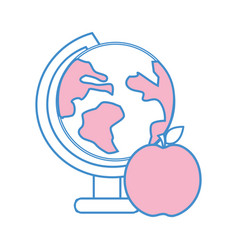Earth plenet desk with apple fruit vector