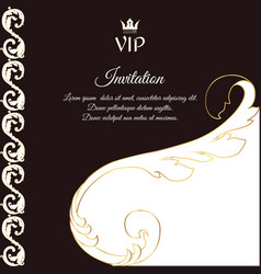 Elegant brown card for vip greetings and vector