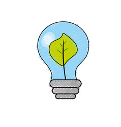 Energy bulb with leaf inside to environment care vector
