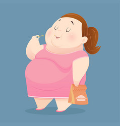 fat woman is enjoy eating many junk foods vector image