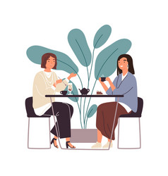 female friends drinking tea together at cafe vector image