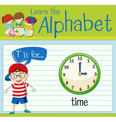 Flashcard alphabet T is for time vector image