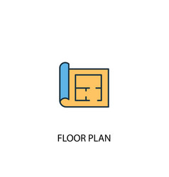 Floor plan concept 2 colored line icon simple vector