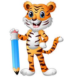 Funny tiger cartoon holding a big pencil vector