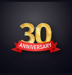 golden numbers thirtieth anniversary with red vector image