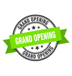 Grand opening label grand opening green band sign vector