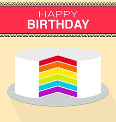 Happy birthday rainbow cake vector