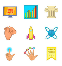 Honourable mention icons set cartoon style vector