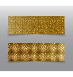 Horizontal set Gold sequins banners Glitter vector