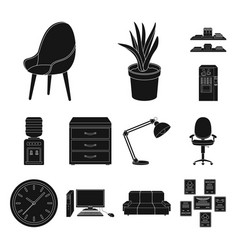 Interior of the workplace black icons in set vector