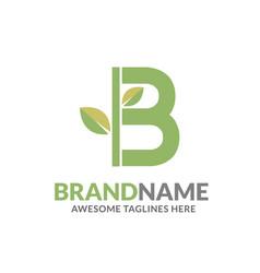 letter b with natural green leaf logo vector image