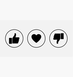 like icons thumb up and down with heart icons vector image
