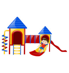 little boy playing on slide vector image