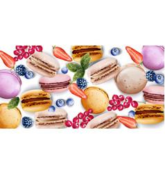 Macaroons watercolor vintage pattern desserts vector