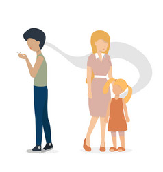 Man with cigarette and woman with child 2 version vector