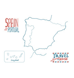 Map of spain and portugal drawn by hand on white vector