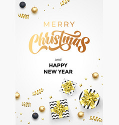 merry christmas and happy new year greeting card vector image