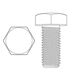 Metal hex bolt white outline icon vector