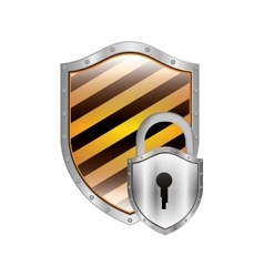 Metallic shield with diagonal stripe and padlock vector