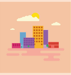 Modern city green centre with tall buildings vector