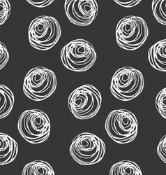 Monochrome scribbles white circles on black vector image